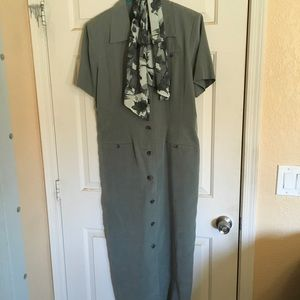 EUC sage green dress with scarf